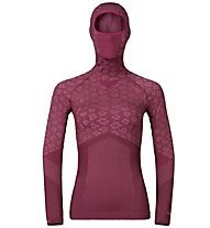 Odlo Blackcomb Evolution Warm langärmliges Damen-Funktionsshirt mit Facemask, Zinfandel/Sangria