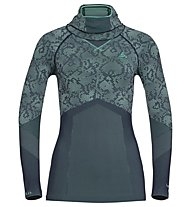 Odlo Blackcomb Evolution Warm Shirt with Facemask - maglia intima manica lunga - donna, Peacoat/Mint