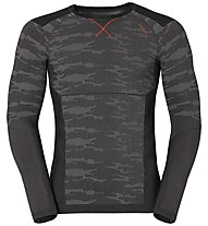 Odlo Blackcomb Evolution Warm LS crew neck langärmliges Funktionsshirt, Odlo Concrete Grey/Black/Cherry Tomato