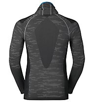 Odlo Blackcomb Evolution warm LS with facemask langärmliges Funktionsshirt mit Gesichtsmaske, Concrete Grey/Black/Blue