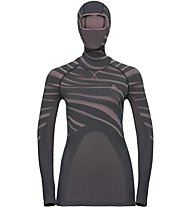 Odlo Blackcomb Top with Facemask - Funktionsshirt Langarm mit Gesichtsmaske - Damen, Grey/Rose