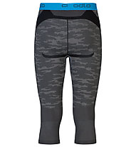 Odlo Blackcomp Evolution warm Pants 3/4 pantalone intimo a 3/4, Concrete Grey/Black/Blue