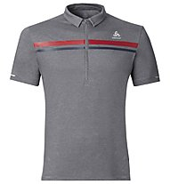 Odlo Classic Polo - Radtrikot SS17 - Herren, Grey /Red/Blue