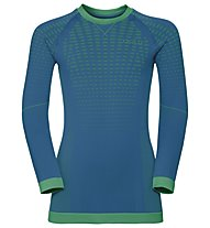 Odlo Evolution Warm crew neck - Funktionsshirt Langarm - Kinder, Blue/Green