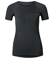 Odlo Evolution warm Shirt s/s crew neck kurzärmliges Damen-Funktionsshirt, Black/Odlo Grahite Grey