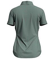 Odlo Kumano Check Blouse S/S - Damen-Kurzarmhemd, Green/Grey