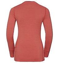 Odlo Natural 100% Merino Warm Print Natural - Funktionsshirt Langarm - Damen, Hot Coral