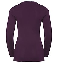 Odlo Natural 100% Merino Warm Print Natural - Funktionsshirt Langarm - Damen, Dark Purple