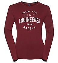Odlo Natural 100% Merino Warm Print - Funktonssshirt Langarm - Herren, Red