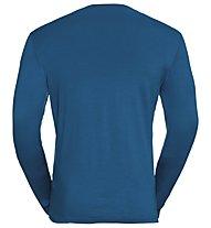 Odlo Natural 100% Merino Warm Print - Funktonssshirt Langarm - Herren, Blue