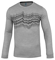 Odlo Natural 100% Merino Warm Print - Funktonssshirt Langarm - Herren, Grey