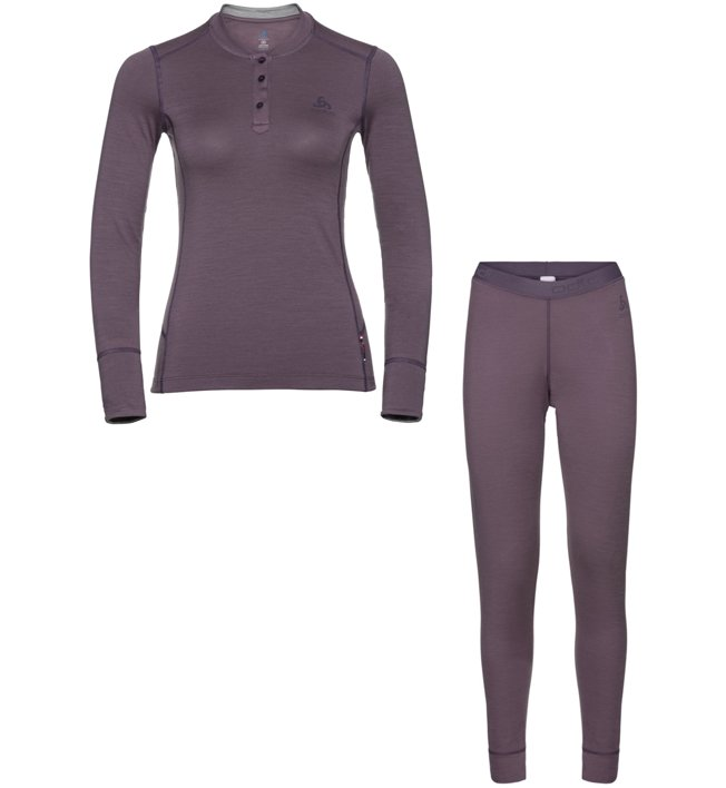 Odlo Set Long Merino 100% Warm - Komplet Funktionsunterwäsche - Damen, Violet