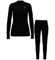 Odlo Set Long Merino 100% Warm - set intimo - donna, Black