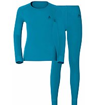 Odlo Set Evolution Warm - set intimo sportivo - donna, Light Blue