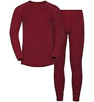 Odlo Set Shirt l/s Pants WARM - Sportunterwäsche-Komplet, Red