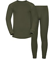 Odlo Set Shirt l/s Pants WARM - Sportunterwäsche-Komplet, Green