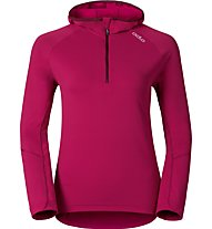 Odlo Sillian Hoody Midlayer 1/2 Zip Langlauf-Kapuzenpullover für Damen., Pink