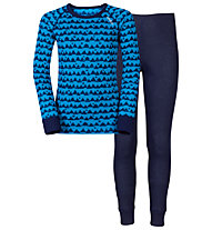 Odlo Warm Kids Shirt l/s Pants long Set Unterwäsche Komplet für Kinder, Blue Jewel/Peacoat