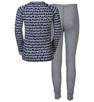 Odlo Warm Kids Shirt l/s Pants long Set Unterwäsche Komplet für Kinder, Peacoat/Grey Melange