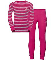 Odlo Warm Kids Shirt Pants Long Set - Unterwäsche Komplet - Kinder, Pink/Grey