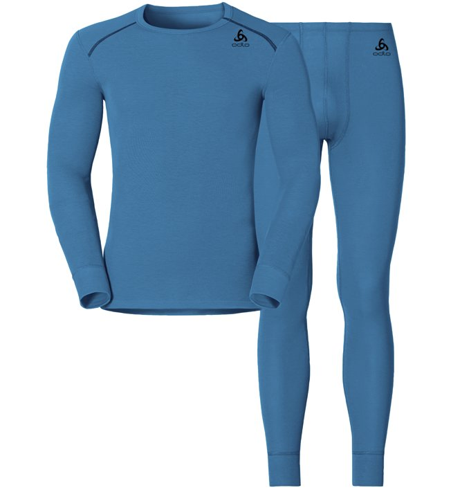 Odlo Set Shirt l/s Pants WARM - Sportunterwäsche-Komplet, Light Blue