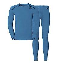 Odlo Set Shirt l/s Pants WARM - Sportunterwäsche-Komplet, Light Blue