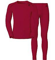 Odlo Set Shirt l/s Pants WARM - Sportunterwäsche-Komplet, Red/Black