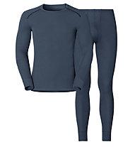 Odlo Set Shirt l/s Pants WARM - Sportunterwäsche-Komplet, Dark Grey