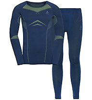 Odlo Winter Specials Performance Evolution Warm - set intimo - uomo, Blue/Green