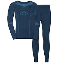 Odlo Winter Specials Performance Evolution Warm - set intimo - uomo, Blue/Light Blue
