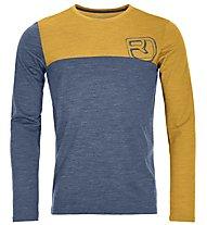Ortovox 150 Cool Logo - maglia a maniche lunghe - uomo, Blue/Yellow