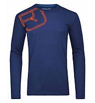 Ortovox 185 Equipment Logo Long Sleeve Merino-Funktionsshirt, Strong Blue