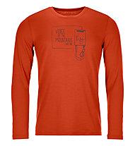 Ortovox 185 Merino F2 LS - maglia tecnica a maniche lunghe - uomo, Orange