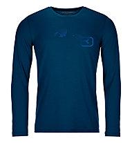 Ortovox 185 Merino Logo Spray LS - maglia manica lunga - uomo, Dark Blue