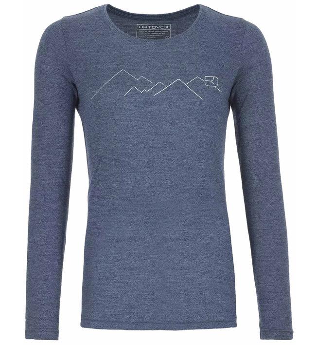 Ortovox 185 Merino Mountain LS - maglietta tecnica - donna, night blue blend