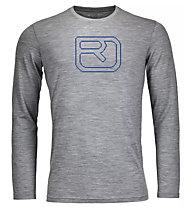 Ortovox 185 Merino Pixel Logo LS - Langarmshirt - Herren, Grey
