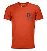 Ortovox 185 Merino Way to Powder TS - T-shirt - uomo, Dark Orange
