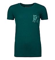 Ortovox 185 Merino Way to Powder TS W's - T-shirt - donna, Dark Green