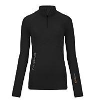 Ortovox 230 Competition Zip Neck langärmliges Merino-Funktionssshirt für Damen, Black raven