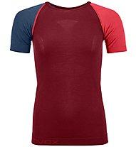 Ortovox Comp Light 120 - Funktionsshirt Kurzarm - Damen, Dark Red/Blue/Red