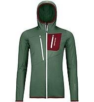 Ortovox Fleece Grid Hoodie - Fleece-Jacke mit Kapuze - Damen, Green/Dark Red