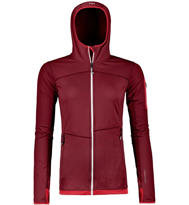 Ortovox Merino Fleece Light - Fleecejacke mit Kapuze Bergsport - Damen, Dark Red