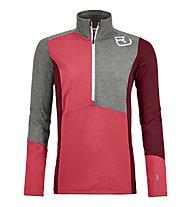 Ortovox Fleece Light Zip Neck - Langarmshirt mit Reißverschluss - Damen, Red