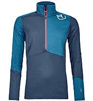 Ortovox Fleece Light Zip Neck - Langarmshirt mit Reißverschluss - Damen, Blue