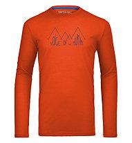 Ortovox 150 Merino Cool Ridge Print T-Shirt manica lunga, Crazy Orange