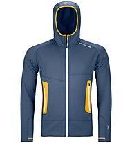 Ortovox Merino Fleece Light Hoody - Fleecejacke mit Kapuze - Herren, Blue/Yellow