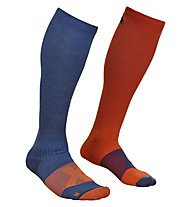Ortovox Merino Tour Light Compression - calze da sci, Blue/Red