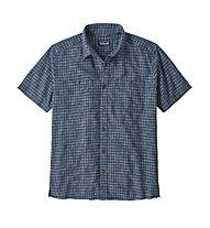 Patagonia Back Step - camicia a maniche corte - uomo, Blue/White