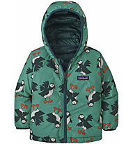 Patagonia Reversible Down Sweater Hoody - giacca in piuma - bambino, Green/Dark Green