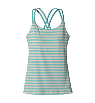Patagonia Cross Back Tank Top arrampicata Donna, Vista Stripe/Howling Turquoise
